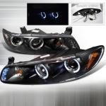 1997-2003 Pontiac Grand Prix Halo Projector Headlight Black - 1 Pair