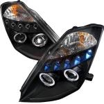 2003-2005 Nissan 350Z Halo Projector Headlight Black- 1 Pair