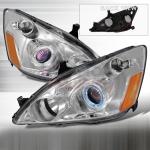 2003-2007 Honda Accord Halo Projector Headlight Chrome- 1 Pair