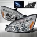 2003-2007 Honda Accord Halo LED Projector Headlight Chrome- 1 Pair