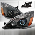 2003-2007 Honda Accord Halo Projector Headlight Black- 1 Pair