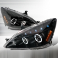 2003-2007 Honda Accord Halo LED Projector Headlight Black- 1 Pair