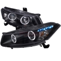 2008-2012 Honda Accord Halo Projector Headlight Black- 1 Pair
