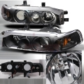 1990-1993 Honda Accord Halo Projector Headlight Black- 1 Pair