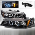 1994-1997 Honda Accord Halo LED Projector Headlight Black- 1 Pair