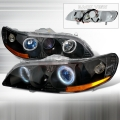1998-2002 Honda Accord Halo Projector Headlight Black- 1 Pair
