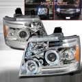 2007-2010 Chevrolet Avalanche Halo LED Projector Headlight Chrome- 1 Pair