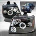 2007-2011 Chevrolet Avalanche Halo Projector Headlight Black- 1 Pair