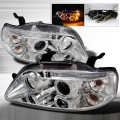 2004-2008 Chevrolet Aveo Halo LED Projector Headlight Chrome- 1 Pair
