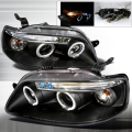 2004-2008 Chevrolet Aveo Halo LED Projector Headlight Black- 1 Pair