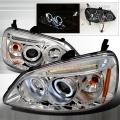2001-2003 Honda Civic Halo LED Projector Headlight Chrome- 1 Pair
