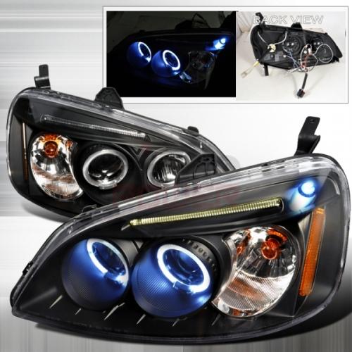 2001 2003 Honda Civic Halo Led Projector Headlight Black