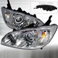 2004-2005 Honda Civic Halo Projector Headlight Chrome- 1 Pair