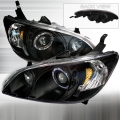 2004-2005 Honda Civic Halo Projector Headlight Black- 1 Pair