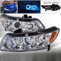 2006-2011 Honda Civic Halo LED Projector Headlight Chrome- 1 Pair