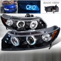 2006-2011 Honda Civic Halo LED Projector Headlight Black- 1 Pair