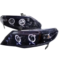 2006-2011 Honda Civic Gloss Back Projector Headlight Smoked- 1 Pair