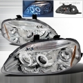 1999 2000 Honda Civic Halo LED Projector Headlight Chrome- 1 Pair