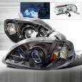 1999-2000 Honda Civic Halo Projector Headlight Black- 1 Pair
