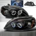 1999 2000  Honda Civic Halo Projector Headlight Black- 1 Pair