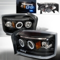 2005-2008 Dodge Dakota Halo LED Projector Headlight Black- 1 Pair