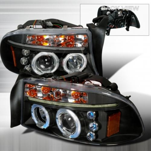 1997 2004 Dodge Durango Halo Led Projector Headlight Black