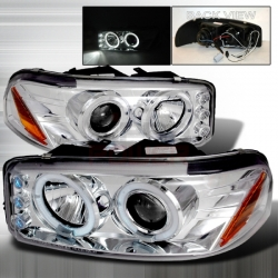 2000-2006 GMC Denali Halo Projector Headlight Chrome- 1 Pair