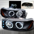 2000-2005 GMC Sierra Halo Projector Headlight Black- 1 Pair