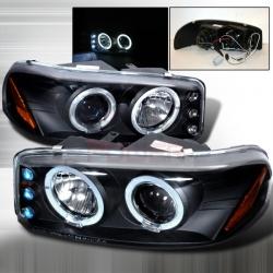 2000-2005 GMC Sierra Halo Projector Headlight Black- 1 Pair