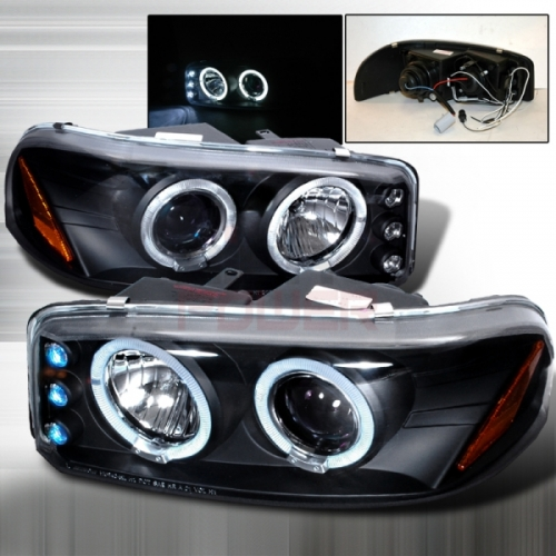 2000 2005 gmc sierra halo projector headlight black 1 pair. Black Bedroom Furniture Sets. Home Design Ideas